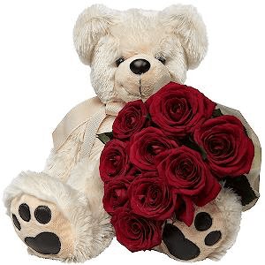 """Цветы на 14 февраля - Букет """"Влюбленный мишка"""""""