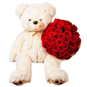 """Цветы на 14 февраля - Букет """"Счастливый мишка"""""""